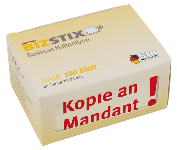 "BIZSTIX® Business Haftnotizen ""Kopie an Mandant"""